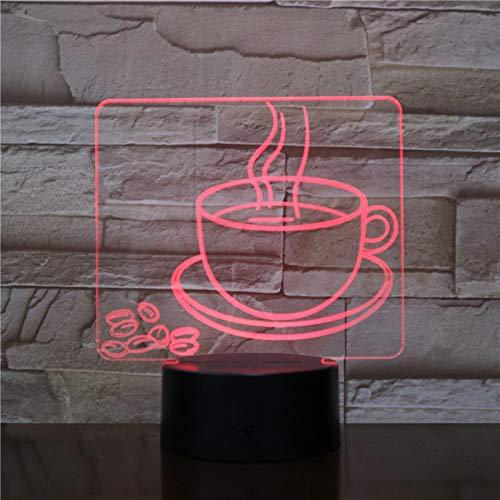 BFMBCHDJ Kaffeetasse Nachtlicht LED 3D Visuelle Tischlampe 7 Farbwechsel Nachttischlampe Leuchte Geschenke Schlaf Beleuchtung Restaurant Dekor