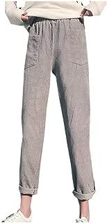 Lazapa Casual Pant for Women, Retro Pocket Corduroy Feet Pants Fall Winter Warm Wild Wide Leg Pants Soft Cozy Trousers