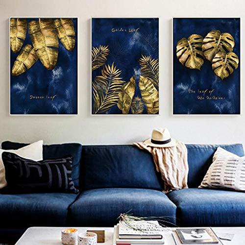 Lienzo de lujo de la pared de la hoja de oro del arte de la pared de la impresión azul carteles decorativos arte de la pared impresiones de la sala de estar decoración del hogar sin marco/30x40cmx3