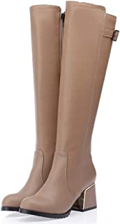 JoCome Women's Winter Ankle Boots | Side Zip Buckle Bare Boots | Casual Short Tube Booties Beige