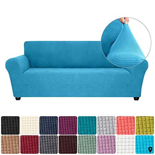 Walmeck- Sofá elástico Slipcover Spandex Sofá Suave Antideslizante Funda de sofá 3 plazas Lavable para Sala de Estar Niños Mascotas (Azul Cielo)