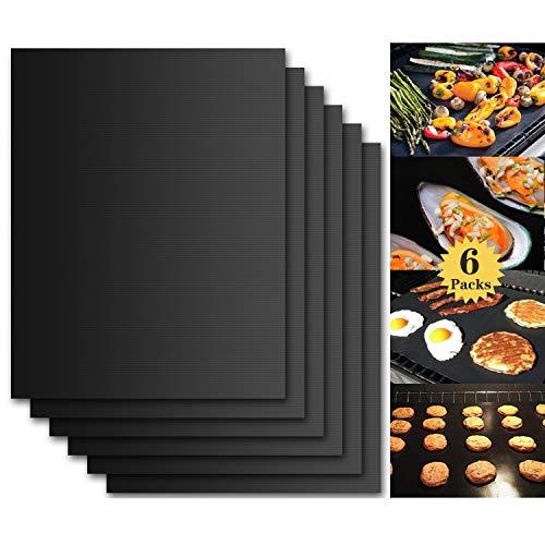 Rajvia BBQ Grillmatten (6er Set) 40x33 cm Zum Grillen und Backen BBQ Antihaft Grill Backmatte Extra große Grillfolie Grillmatten für Holzkohle, Gasgrill & Backofen Wiederverwendbar PFOA-Frei MEHRWEG