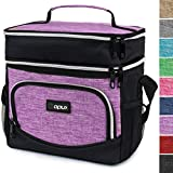 OPUX Premium Insulated Dual Compartment Lunch Bag for Women Girl | Double Deck Leakproof Liner Lunch Tote | Soft Reusable Lunch Box for Work School | Medium Lunch Pail, Fits 8 Cans (Heather Purple)