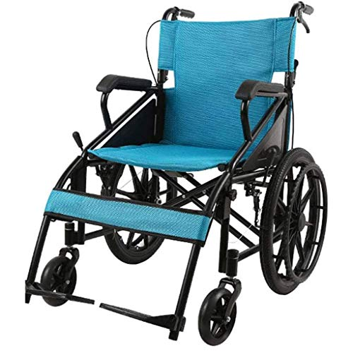 New HAOXJ1 Self-propelled Wheelchairs, Foldable Manual Wheelchair Lightweight Portable Travel Wheelc...