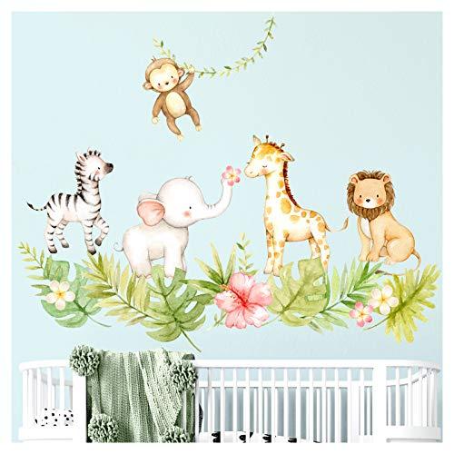 Little Deco Wandtattoo Dschungeltiere mit Blätter & Blumen I M - 63 x 53 cm (BxH) I Wandsticker Babyzimmer Mädchen Wandaufkleber Kinderzimmer Junge DL451