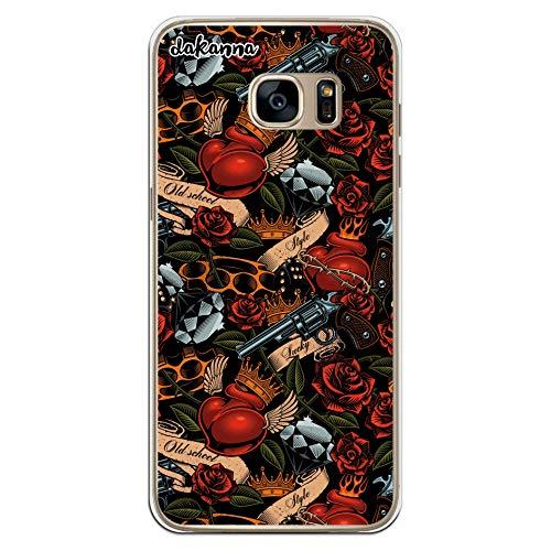 dakanna Kompatibel mit [Samsung Galaxy S7 Edge] Flexible Silikon-Handy-Hülle [Transparent] Tattoo-Stil Old School mit Pistolen und Rosen Design, TPU Case Cover Schutzhülle für Dein Smartphone