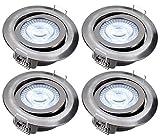 4x Foco LED empotrable luz de techo greenandco IRC97+ 5W (=28W) 300lm blanco calido, redondo, plano, basculante, sin parpadeo, no regulable, color: níquel cepillado, con caja de conexiones