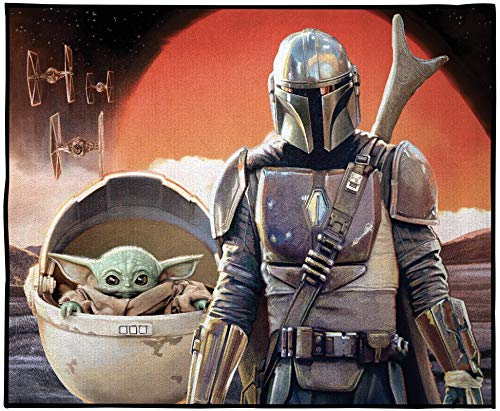 Jay Franco Star Wars The Mandalorian Where I Go He Goes Room Rug - Large Area Rug Measures 4 x 5 Feet Features Grogu Baby Yoda (Offical Star Wars Product)