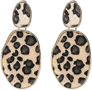 Earrings Sexy Leopard Geometric Street Beat Earrings For Lady(Red) Earrings (Color : Beige)