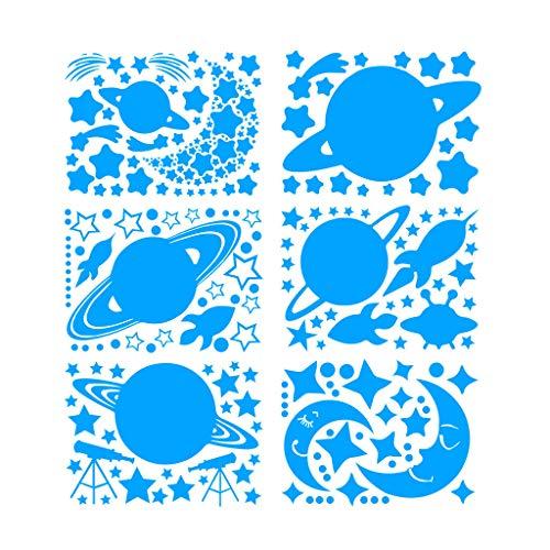 Jgashf - Estrellas fluorescentes y gran luna, planeta – 6 pegatinas de pared fluorescentes para la habitación de los niños, se iluminan en la oscuridad de noche, azul