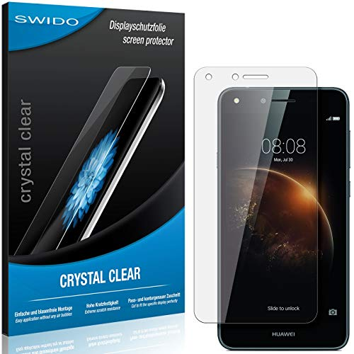 SWIDO Bildschirmschutzfolie für Huawei Y6 II Compact [3 Stück] Kristall-Klar, Extrem Kratzfest, Schutz vor Öl, Staub & Kratzer/Folie, Glasfolie, Bildschirmschutz, Schutzfolie, Panzerfolie