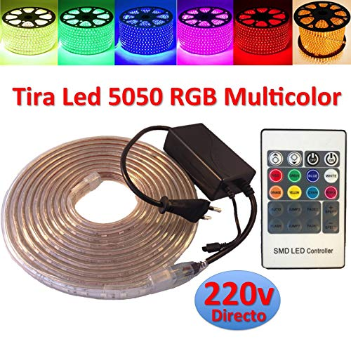 Ahorraluz Tira de Led 220v 5050 RGB con Mando IMPERMEABLE Waterproof IP67 Strip 230V (1 Metro), 1M