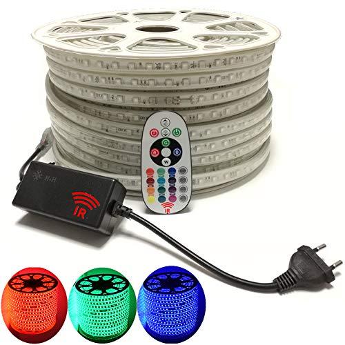 15 Meter H+H Leipzig 230V 5050 SMD 60LEDs /M IP67 Mehrfarbig RGB LED Strip Streifen Lichtband Lichtleiste Lichtschläuche Lichtschlauch mit IP20 Infrarot (IR) Netzteil Controller Fernbedienung