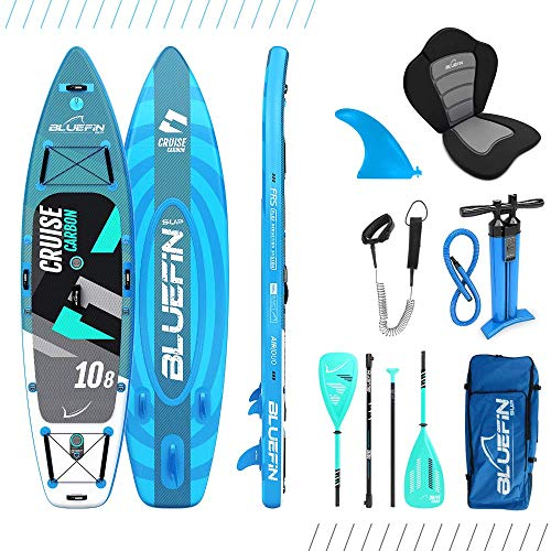 Paquete de Sup Bluefin Cruise | Tabla de Paddle Surf Hinchable | Remo de Fibra de Vidrio | Kit de Conversión a Kayak | Accesorios Completos | Varias Medidas: 10'8, 12', 15' (Carbon 330cm)