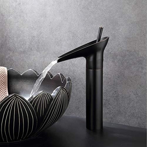 Zwarte waterval Wastafel kraan Wijnglas stijl Eengreeps Messing Antiek Warm en Koud Wastafel Mengkranen