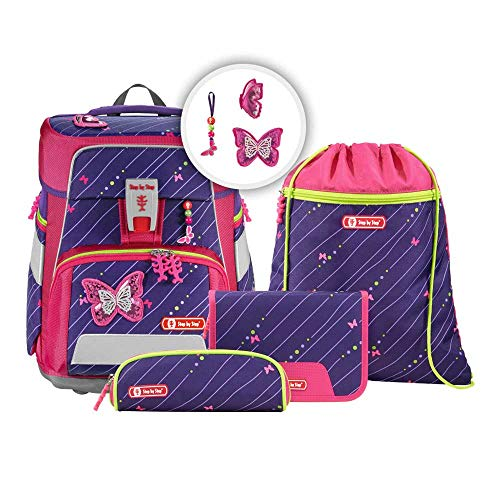 """Step by Step Schulranzen-Set Space """"Shiny Butterfly"""" 5-teilig, lila-rosa, Schmetterling-Design, ergonomischer Tornister mit Reflektoren, höhenverstellbar mit Hüftgurt für Mädchen 1. Klasse, 20L"""