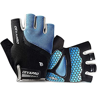 Cevapro Cycle Gloves Mountain Road Bike Gloves Half Finger Bicycle Gloves with Anti Slip Shock-Absorbing Gel Pad Cycling Riding Biking Gloves MTB DH Road Bicycling Gloves for Men Women (Blue, XL)