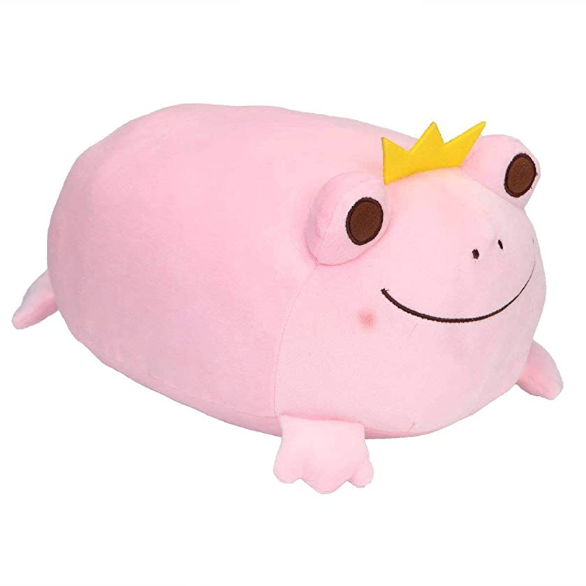 Frog Stuffed Animal Stretchy Frog Plush Pillow with Crown Cuddly Adorable Gift for Kids Creative Decoration 14 Inches Pink