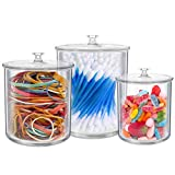 The Kitchen Witch Set of 3 Small Apothecary Jars Bathroom Multipurpose Acrylic Qtips Holder Storage Organizer Canisters Plastic Clear