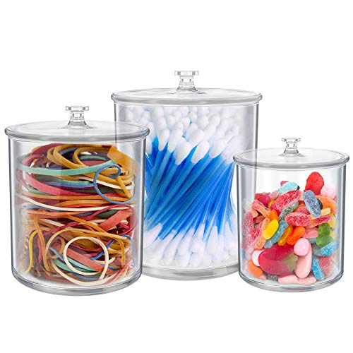 Set of 3 Small Apothecary Jars Bathroom – Multipurpose Acrylic Qtips Holder – Storage Organizer Canisters – Plastic Clear