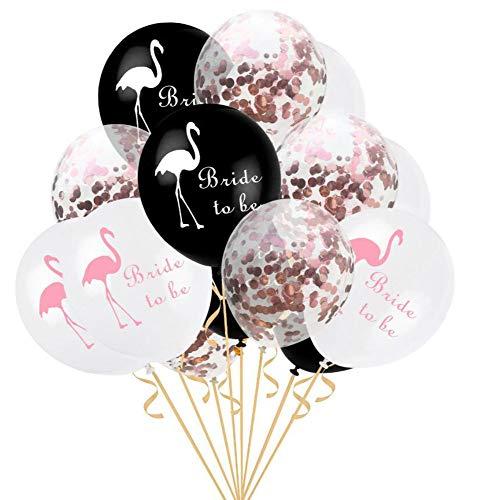Oblique Unique® Bride to be Konfetti Luftballon Set mit Flamingo für Hochzeit JGA Junggesellinnenabschied Hen Party Ballons Schwarz Weiß Roségold