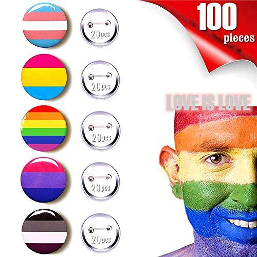 Rainbow Pride Button Gay Pride Pins LGBT Lapel Pin Rainbow Flag Pinback Buttons,1 Inch,100 PCS