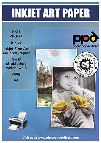 PPD A4 Professionelles Inkjet Fine Art Aquarell Papier Matt, Weich und Leicht Strukturiert - Säurefrei und Archivierbar -240g A4 x 25 Blatt-PPD074-25