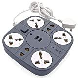 Axmon Extension Cord with 2 USB Charging Ports and 6 Socket...