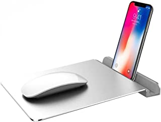 FIRSTMEMORY Aluminum Mouse Pad 2 in 1 Mouse Pad with Phone Holder, Ultra Thin and Rubber Base Mouse Mat, Waterproof and Aluminium Surface for Fast and Accurate Control (Silver)