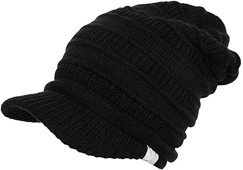 Gajaous Womens Winter Knitted Beanie Hats Slouchy Baggy Brim Newsboy Ski Cap with Visor