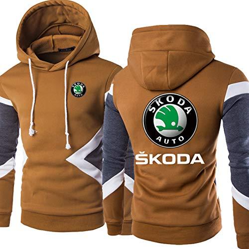 Sudaderas con Capucha para Hombres - Skoda Impreso Color COCURADO Caso Casos Unisex Sudadera Larga Sweatshirts Chaqueta - Adolescente Regalo Camel-5X-Large
