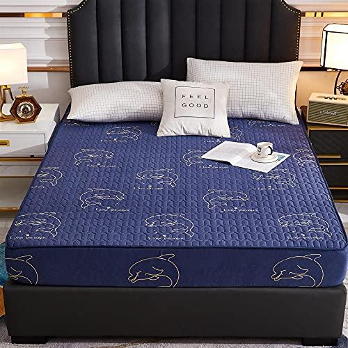 Zachte, verkoelende, ademende onderplaten,Waterdicht bedrukte gewatteerde dikke hoeslakens, antislip beschermingskussen voor slaapkamer appartement Hotel-Blue_3_90cmx200cm