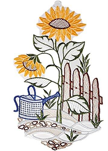 Plauener Spitze Fensterbild 15x28 cm + Saugnapf Stickerei Sonnenblumen Gartenzaun Sommer Herbst Spitzenbild