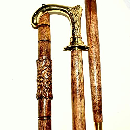 Wooden Walking Stick/Cane Brass Handle & 37.6 Inch Vintage-Look Natural Wood Staff - Brown & Golden Cane in Natural Wood