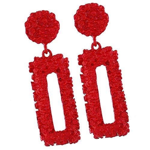 IPOTCH 1 Par de Aretes Elegantes con Encanto Rectángulo Grande Caída Cuelga, Colgante Retro Colgante Rectangular Colgante Declaración Pendientes - Rojo