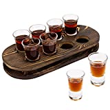 MyGift Rustic Dark Brown Burnt Solid Wood Shot Glass Serving Tray Barware with 8 Shot Glasses