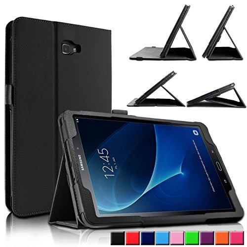 INFILAND Galaxy Tab A 10.1 Hülle Case, Slim dünne Kunstleder Schutzhülle Cover Tasche für Samsung Galaxy Tab A 10.1 (2016) SM-T580N/SM-T585N (mit Auto Schlaf/Wach Funktion)(Schwarz)