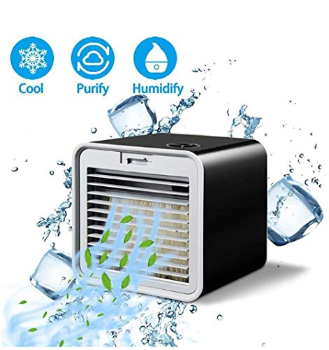1 op de 3 Mini Air Conditioner |Portable USB Fan Desktop Watergekoelde Thuis Fan, gebruikt for Slaapkamer Woonkamer Office Travel, Black