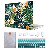 MAITTAO 4 in 1 Bundle MacBook Air 11 inch Case, Plastic Pattern Hard Shell & Laptop Sleeve & Gradient Keyboard Skin Cover Compatible with Mac Air 11 inch (Model: A1465 / A1370), Red Hibiscu
