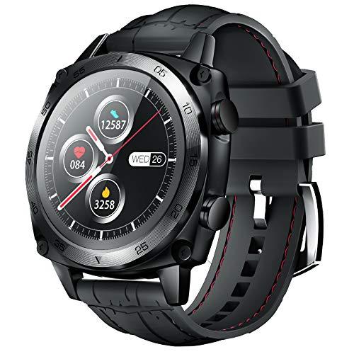 CUBOT Smartwatch Herren, Fitness Armbanduhr, IP68 Wasserdicht Schrittzähler mit Herzfrequenzmesser Stoppuhr Pulsuhr Musiksteuerung und Schlafmonitor, 1.3 Zoll Touch-Farbdisplay Fitnessuhr(Schwarz)