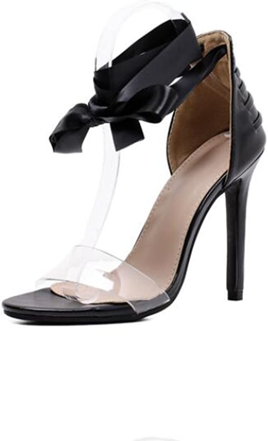 Europe and The United States Strap Sandals Transparent Belt High Heel Women's shoes,Black,38