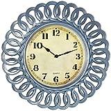 Vintage 23' Wall Clock Designer Farmhouse Spiral (Light Blue)