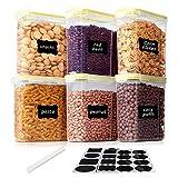 Vtopmart 2.5L Vorratsdosen Set,Müsli Schüttdose & Frischhaltedosen, BPA frei Kunststoff Vorratsdosen luftdicht, Satz mit 6+24 Etiketten für Getreide, Mehl, Zucker usw (Gelb)