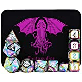 Cthulhu White Rainbow polyhedral Metal Dice 11 Dice Set Cthulhu Metal Box for Dungeons and Dragons (D&D, DND 5 Edition) Call of Cthulhu Warhammer Shadowrun and All Tabletop Games. (Rainbow Cthulhu)