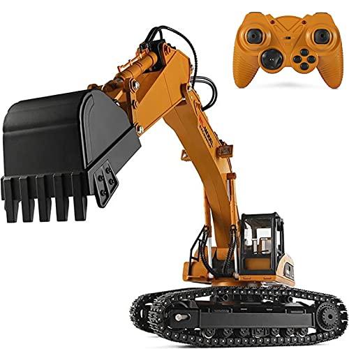 PBTRM Excavadora Teledirigido 1:16 Escala 2.4Ghz RC Metal Digger Control Remoto Camión Juguete con Luz Y Sonido Realistas, Coche RC Regalo para Niños Y Niñas Adultos
