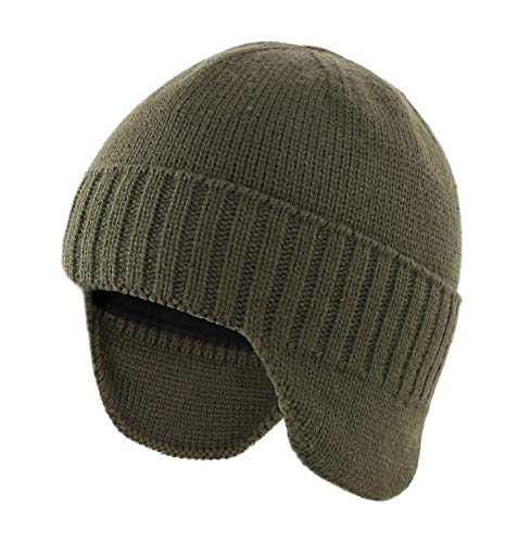 Home Prefer Mens Winter Hat with Lining Warm Watch Beanie Hat with Earflaps Stocking Caps Army Green