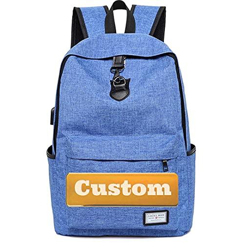 TCross Nombre Personalizado Casual School Mochila Daypack para Mujeres Mujeres Ligeras para la Bolsa universitaria Unisex (Color : Blue, Size : One Size)