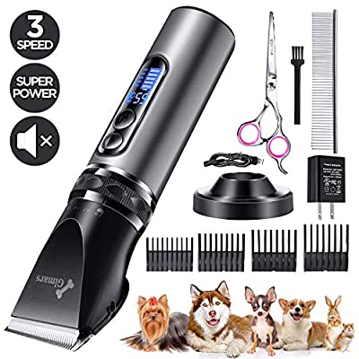 Gimars Cordless Dog Clippers, Newest 3.0 Motor Powerful Cutting Smoothly Dog Trimmer Grooming Shaver Kit Professional Electric Pet Hair Clippers for Thick Curl Coats, Cat, Dog and Other Animal
