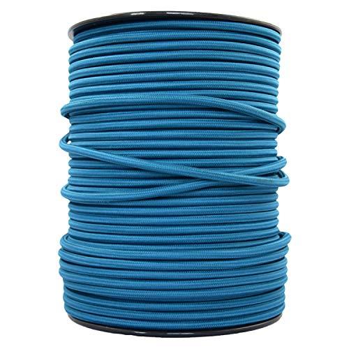 smartect Lampenkabel aus Textil in der Farbe Petrol Blau - 3 Meter Textilkabel - 3-Adrig (3 x 0.75mm²) - Textilummanteltes Stromkabel für DIY Projekt