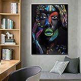 SADHAF Maquillaje facial creativo en blanco y negro Mujer Fantasía Acuarela Cartel Impresión en lienzo Decoración del hogar A5 60x90cm